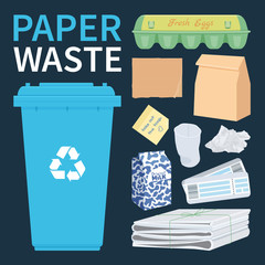 Papar and cardboard waste for recycling