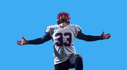American football player celebrating