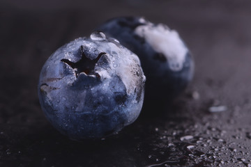 Wet fresh Blueberry.