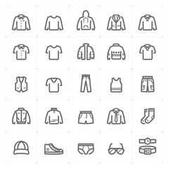 Mini Icon set – Clothing Man icon vector illustration bold line style