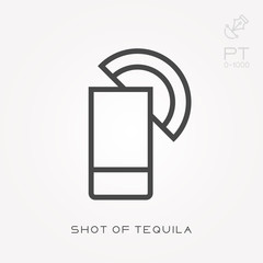 Line icon shot of tequila