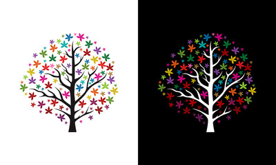 Colorful Tree Background vector, Tree Background template