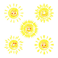 Set of funny vector doodle sun. To design your ideas.