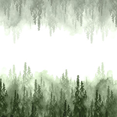 Watercolor group of trees - fir, pine, cedar, fir-tree. green forest, countryside landscape. Drawing on white isolated background. Foggy forest