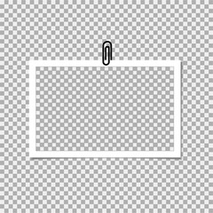 Photo frame with clip on grey background. Vector template, blank