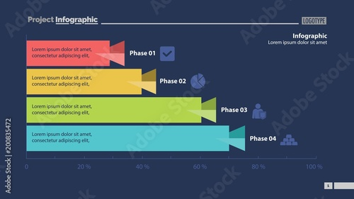 four phase process bar graph design stock image and royalty free