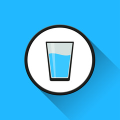 water glass icon with long shadow