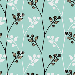 Floral seamless background with small leaves, twigs of plants. Simple pattern. Blue on white color The idea for printing, tissue, packaging, scrapbooking Vector illustration Millefleurs liberty style