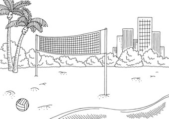 Beach volleyball sport graphic black white city landscape sketch illustration vector