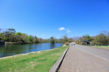 The lake in Onuma natinal park Hokkaido.