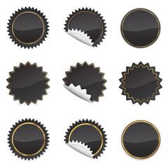 Black Starbursts Set,  Illustration Vector 10
