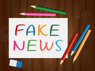Fake News Colorful Pens Writing 3d Illustration