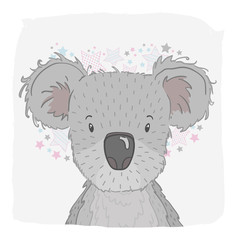 Cute vector animal koala, face. For print on the T-shirt, phone case, for the children's room, for greeting cards.