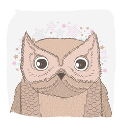 Cute vector animal owl face. For print on the T-shirt, phone case, for the children's room, for greeting cards.