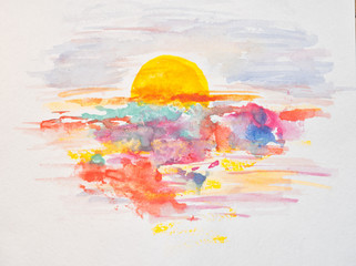 Watercolor sunset, dawn, yellow sun on a yellow, orange, red, blue sky with clouds