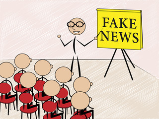 Talking About Fake News To Class 3d Illustration