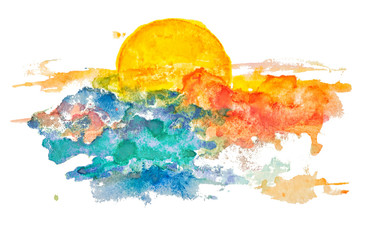 Watercolor sunset, dawn, yellow sun on a yellow, orange, red, blue sky with clouds, isolated on white background.