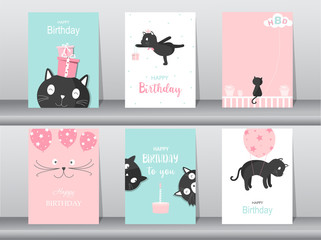 Set of cute cat on birthday backgrounds.Design for kid cards,Vector illustrations.