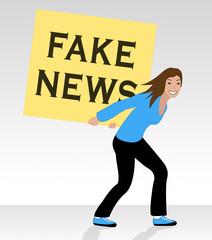 Fake News Signboard Held Behind Back 3d Illustration