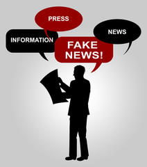 Fake News Speech Bubbles From Man 3d Illustration