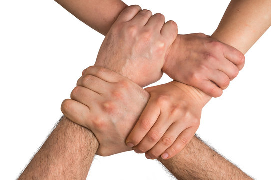 Four human arms crossed and holding together