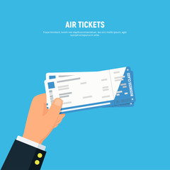 Close-up businessman hand holding air boarding tickets. Airline boarding tickets business class. Travel and business trips concept. Vector illustration in flat style.