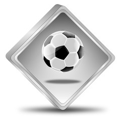 Button with Soccer ball - 3D illustration
