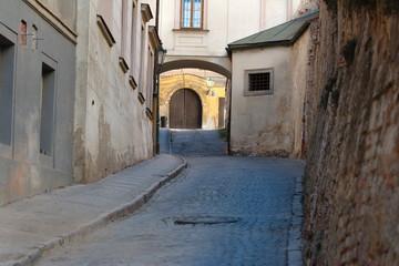 Old Prague narrow street.Czech.  Street photo. Architecture, buildings.