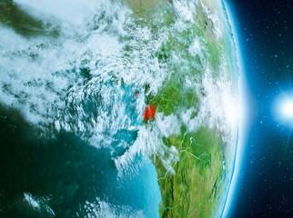 Sunrise above Equatorial Guinea on planet Earth