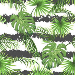 Seamless pattern with stripes and leaves of palm trees