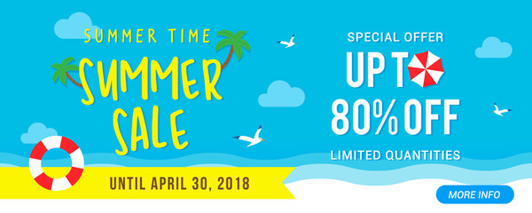 Summer Sale Banner vector illustration, Typography and blue sky with summer beach elements.