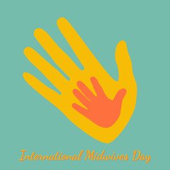 International Midwives Day. Handprints of mother and baby