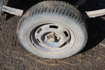 wheel, tire, car, tyre, truck, vehicle, rubber, flat, isolated, transportation, automobile, wheels, tractor, auto, transport, road, metal, black, white, off-road, equipment, dirty, construction, big,
