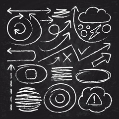 Doodle white arrows and chalk design stroke scribble elements. Sketch circle, line, round borders vector set