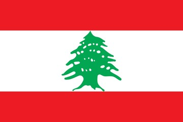 Flag of Lebanon official colors and proportions, vector image.