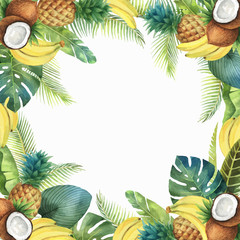 Watercolor vector tropical card of fruits and palm trees isolated on white background.