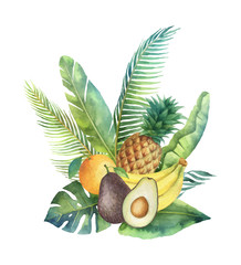 Watercolor vector organic bouquet of fruits and palm trees isolated on white background.