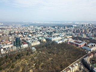 Kiev, Ukraine - April 7, 2018: landscape view of the city of Kiev from aerial view. University of Shevchenko, Botanical Garden