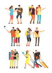 People with luggage on vacation. Tourist man, woman and kids with bags. Traveling family vector character set