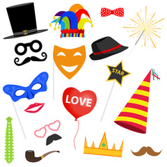 Carnival set. Masks for masquerade, a party cap, an overhead mustache, a bow tie, a clown hat