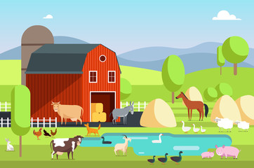 Ranch house, farm building and agricultural animals in rural landscape. Eco farm vector flat background