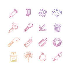 Bright holiday pyrotechnic line vector icons. Festival fireworks elements design
