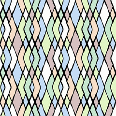 Seamless colorful zigzag pattern.Pink , green, blue vertical stripes on white.