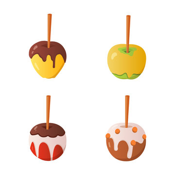 Sweet caramel and chocolate candy apple set. Vector illustration in cartoon style.