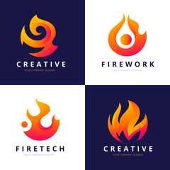 Fire Logo Set. Fire icon collection.