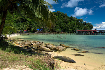 Tropical landscape of fisherman bay with turquoise clean water and pier in the. Koh Rong Samloem. Cambodia, Asia.