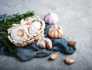 Garlic bulb with blue napkin