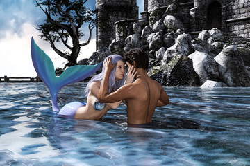 A sea love story between man and a mermaid,3d Fantasy mermaid in mythical sea,Fantasy fairy tale of sea nymph,3d illustration for book cover or book illustration