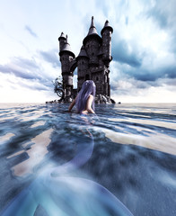 3d Fantasy mermaid in mythical sea,Fantasy fairy tale of sea nymph,3d illustration for book cover or book illustration