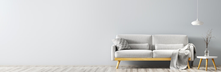 Modern interior with sofa panorama 3d rendering